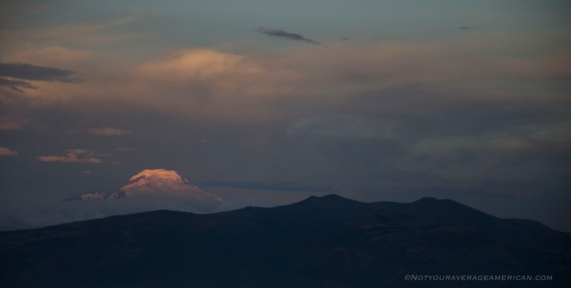 Volcan Cayambe in evening light.