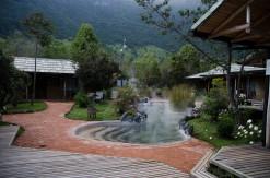 The pools outside the rooms at Terma Papallacta.
