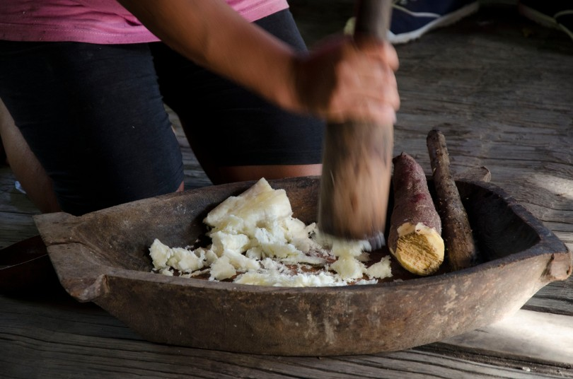 Making chicha from plantain and sweet potato.