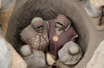 Close up of the reconstruction of the burial of a high ranking family.