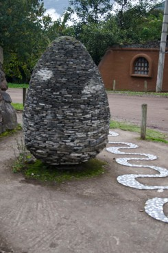 A dry stone obelisque on the grounds of Thermas Papallactas.