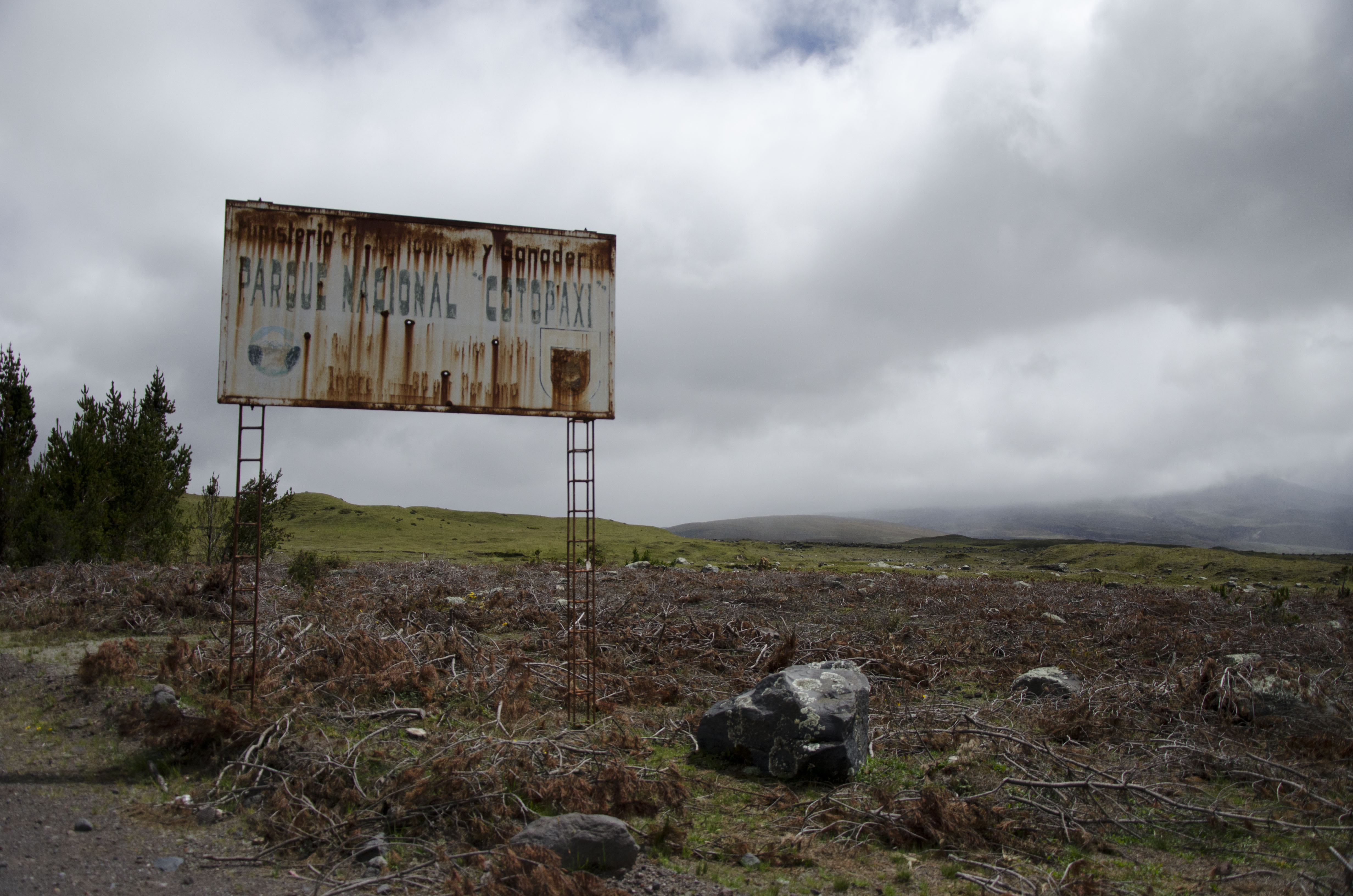 Original entrance sign to the North Gate of Cotopaxi National Park.