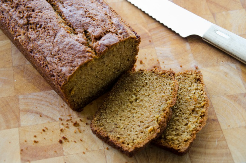 In a standard size loaf pan, bake for about 50 minutes. The smaller the size baking pan, the less time you will need. When the bread is finished, a toothpick should come out clean. Also, the bread should have a nice brown crust.