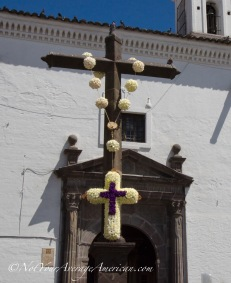 In front of the Capilla de Cantuña, a part of the structure at the Iglesia de San Francisco.