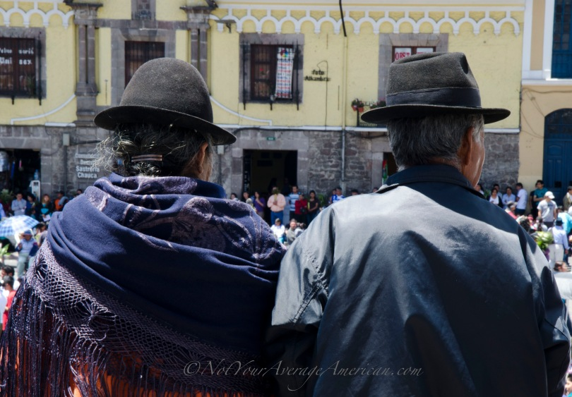 Watching the Palm Sunday festivities in Plaza San Francisco, Quito, Ecuador.