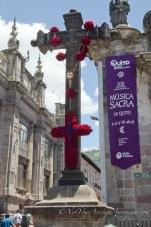 A blood red cross for the Iglesia de la Compañia de Jesús.