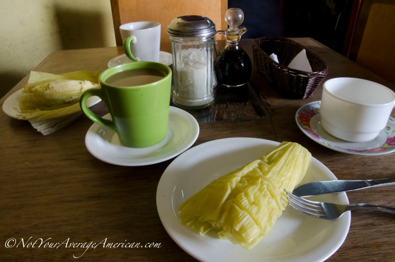 Humitas and coffee - a great start to your day in the historic center of downtown Quito.