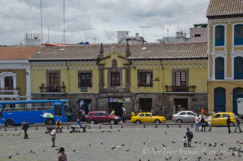 The colonial building that houses La Hueca de Cantuña (2nd space from the right)