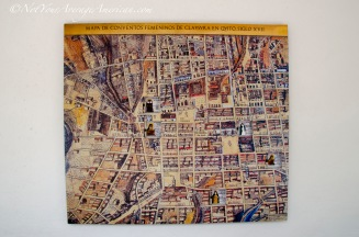 A map of the city of Quito showing all the different religious monasteries and convents.