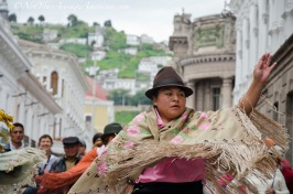 Dancing for tourists on the streets of Quito