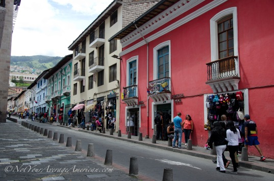 Colorful buildings line the streets and are all the more beautiful for the lack of traffic on Sunday.