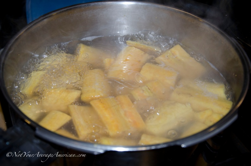 Bring plantains to a boil and cook until soft - about 1/2 hour though I've been told they can be cooked longer.