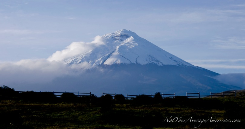 The view from Los Mortiños of Volcan Cotopaxi in the early morning sun.