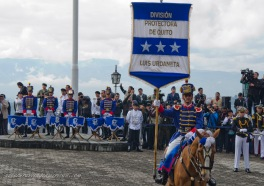Different soldiers on horses carried banners in memory of each of the Armies that came to fight the Spanish.