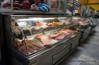 Several vendors sell beef, pork, and chicken but few sell all three.