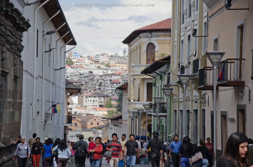 This picture gives you a good idea of how people dress in downtown Quito. Note the guy that sticks out - not a good idea.