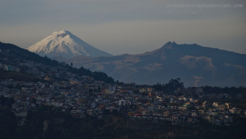 Daylight falls fast in the Andes - the good news is that sunset is about the same time year round - 6:15 or so in Quito.