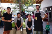 Part of the team that helps at the local market in Cumbaya.