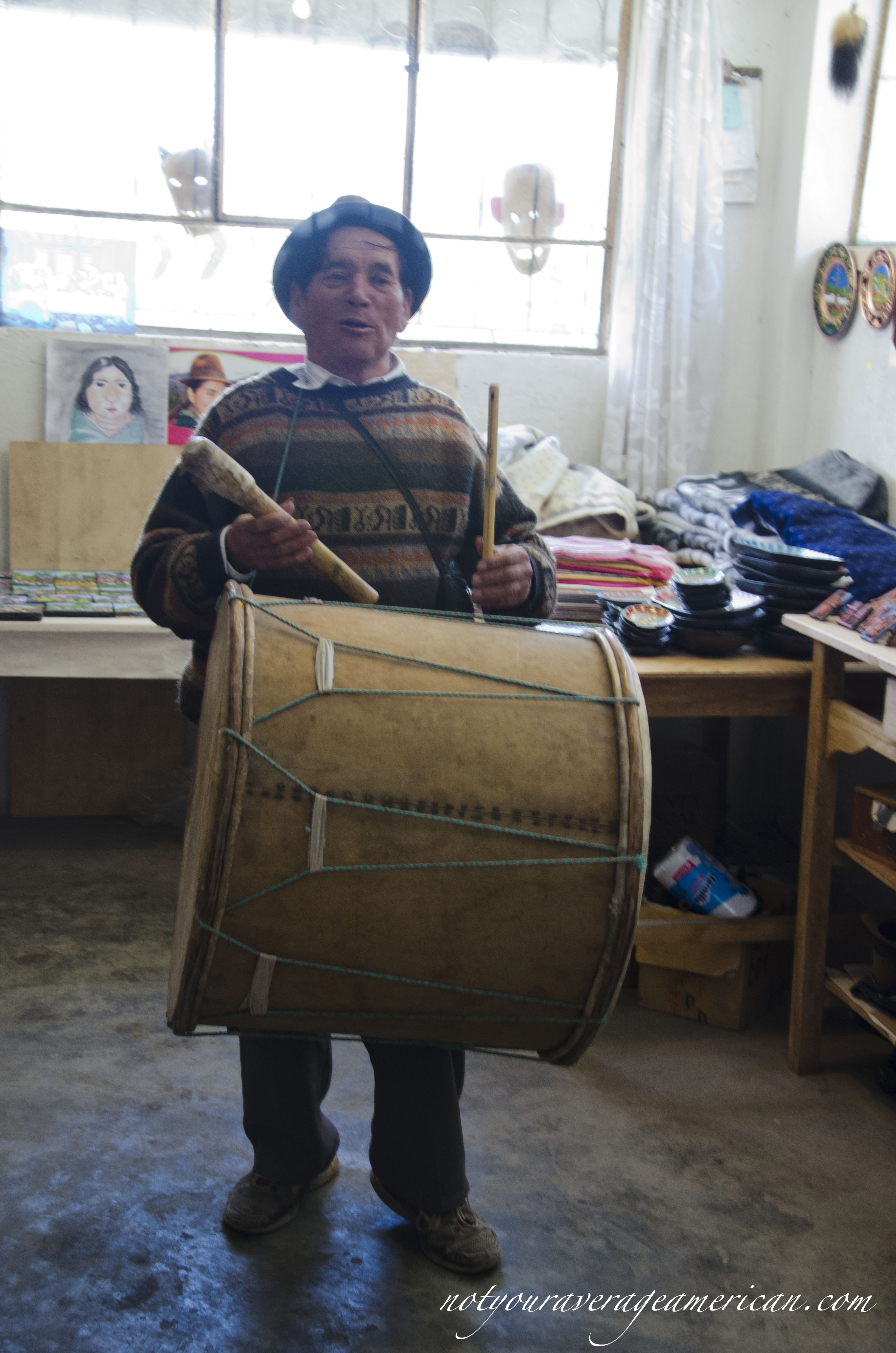 Julio with his drum and pipe.