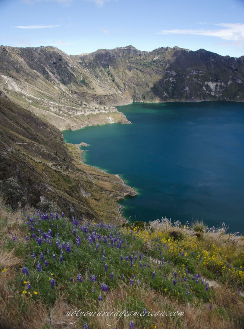 The trail around the Quilatoa Crater provides stunning views of the lakes and a myriad of wildflowers.