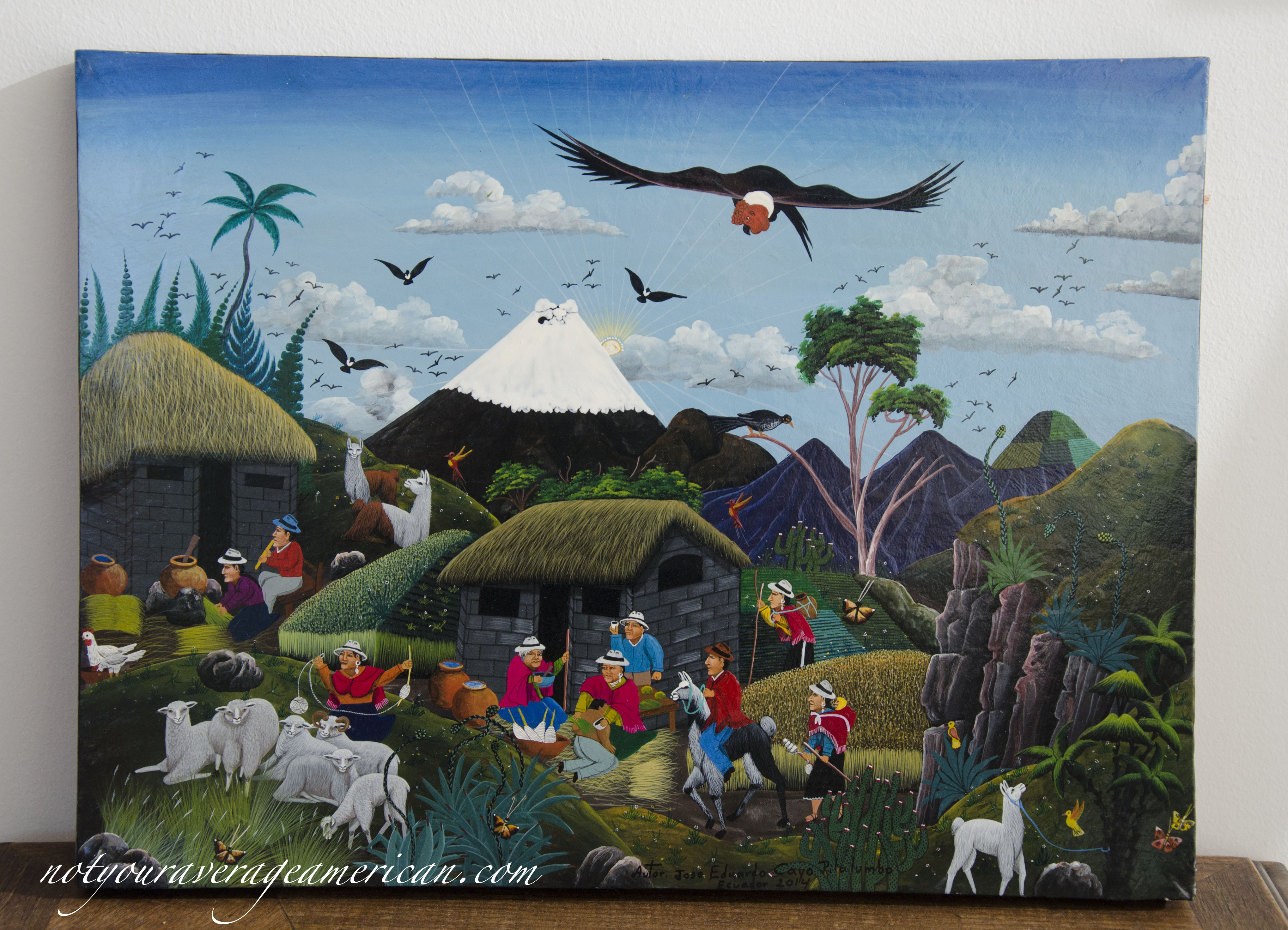 An example of Tigua art purchased at the Mariscal Artisans Market.