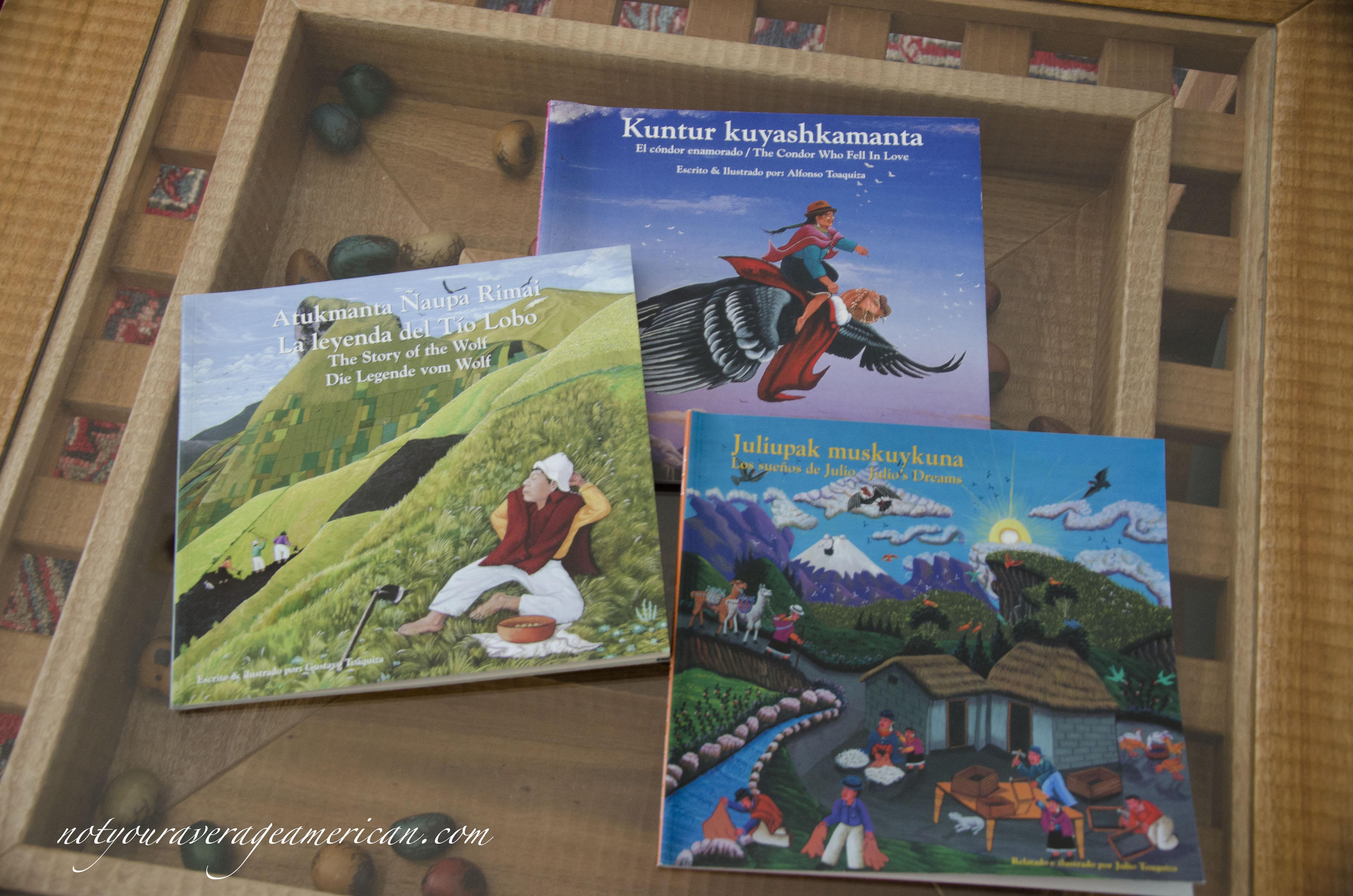 Three books from the Toaquiza family.