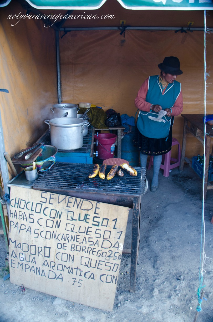 Fast food in Ecuador often means stopping at a roadside stand. My new found favorite fast food is a ripe plantain filled with fresh cheese (maduro con queso). Perfect treat after a long hike.