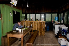 The dining room looking into the kitchen at the Bellavista Scientific Research Station.