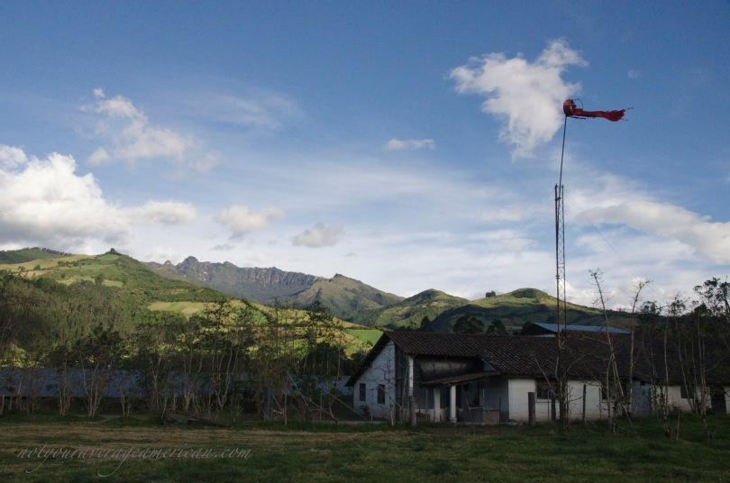 Not far from Sangolqui lies an airfield in the countryside with a tattered windsock and a beautiful view of the mountain Rumiñahui.