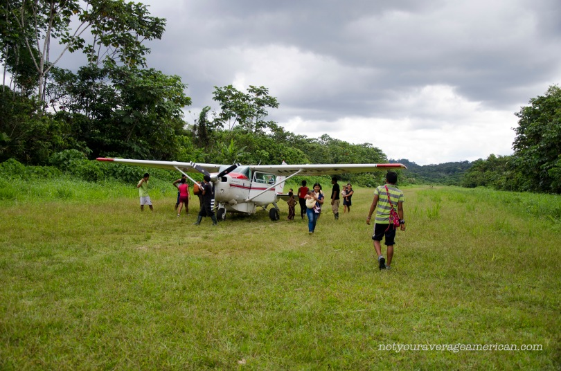 "The arrival of the plane from Shell attracts many of the local villagers to the grass airstrip. As our pilot put it, ""It's the event of the day."" Not just tourists arrive but often supplies, visiting family, or news from outside."