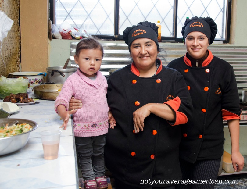 Our Concineras at Cuencano Sabor (with chef in training).