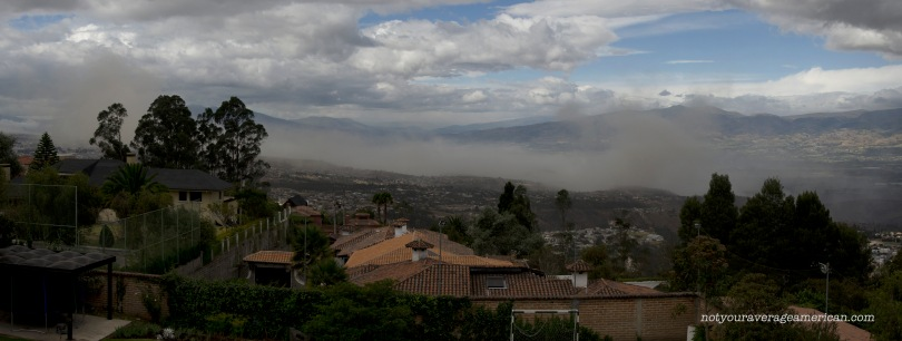 Dust rising in the distance from the 5.1 earthquake that took place on 8 August 2014 near Quito, Ecuador.